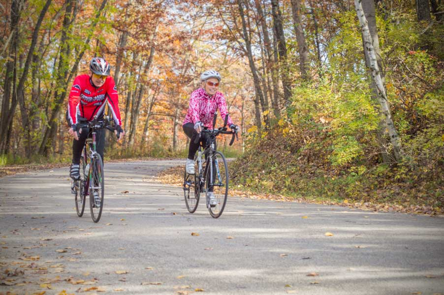 Bicyclists enjoying a scenic ride.